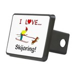 I Love Skijoring Rectangular Hitch Cover