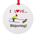 I Love Skijoring Round Ornament