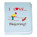 I Love Skijoring baby blanket