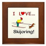 I Love Skijoring Framed Tile