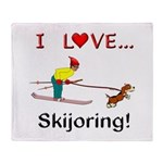 I Love Skijoring Throw Blanket