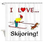 I Love Skijoring Shower Curtain