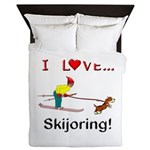 I Love Skijoring Queen Duvet