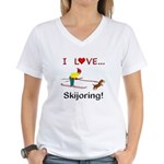 I Love Skijoring Women's V-Neck T-Shirt