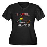 I Love Skijoring Women's Plus Size V-Neck Dark T-S