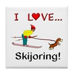 I Love Skijoring Tile Coaster