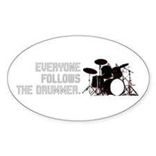 FOLLOW THE DRUMMER Oval Decal