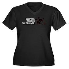 DRUMMER Women's Plus Size V-Neck Dark T-Shirt