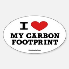 I Love My Carbon Footprint Oval Decal