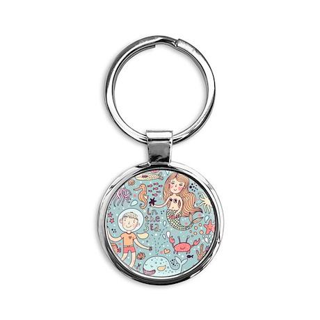 Whimsical Sea Life Round Keychain