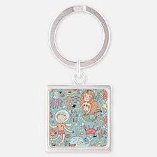 Whimsical Sea Life Square Keychain