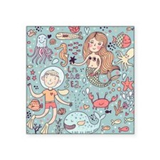 "Whimsical Sea Life Square Sticker 3"" x 3"""