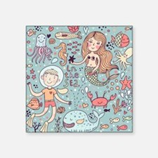 "Whimsical Sea Life Square Sticker 3"" x 3"""