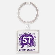 Speech Splash - purple Square Keychain
