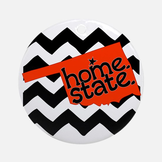 Oklahoma HOME State Orange and Blac Round Ornament