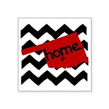 "Oklahoma HOME State Crimson Square Sticker 3"" x 3"""