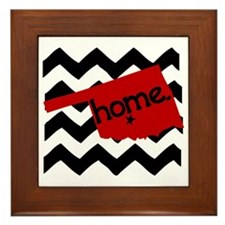 Oklahoma HOME State Crimson Framed Tile