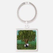 Cute Panda Square Keychain