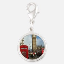 London phone box Silver Round Charm