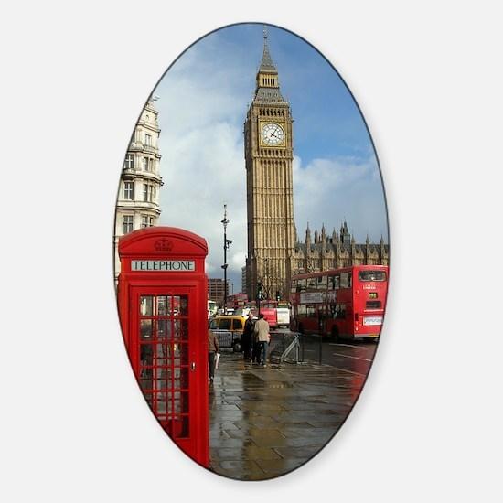 London phone box Sticker (Oval)