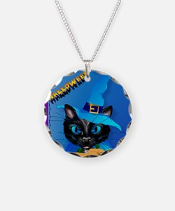 Blue Witch Kitty -Harvest Mo Necklace