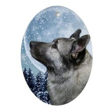 Elkhound Oval Ornament