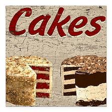 """Cakes Square Car Magnet 3"""" x 3"""""""