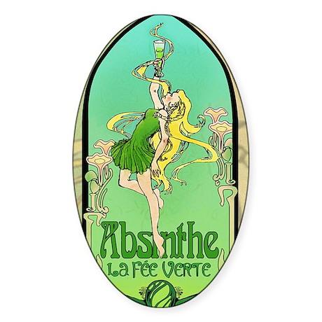 Absinthe Art Nouveau Sticker (Oval)