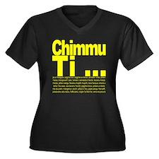 Chimmu Ti Women's Plus Size Dark V-Neck T-Shirt