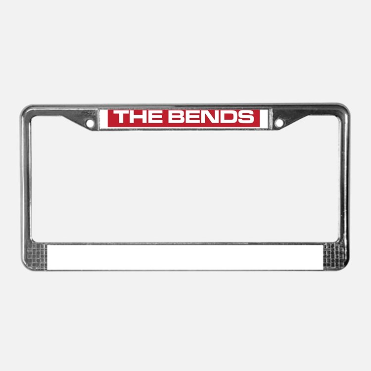 The Bends white on red License Plate Frame