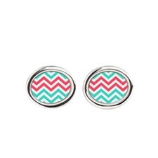 Turquoise and coral pink chevrons Cufflinks
