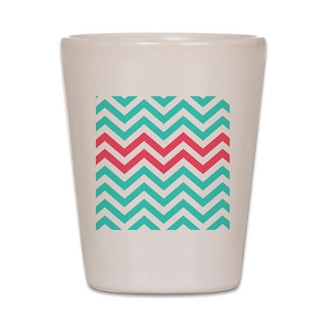 Turquoise and coral pink chevrons Shot Glass