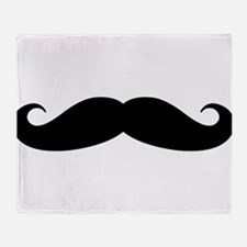 Funny black handlebar mustache Throw Blanket