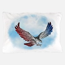 Silver Red White & Blue Eagle in Cloud Pillow Case