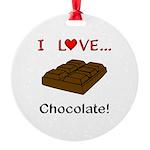 I Love Chocolate Round Ornament
