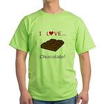 I Love Chocolate Green T-Shirt