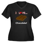 I Love Chocolate Women's Plus Size V-Neck Dark T-S