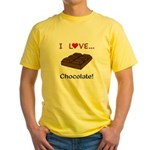 I Love Chocolate Yellow T-Shirt