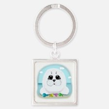 baby-Seal-(txt) Square Keychain
