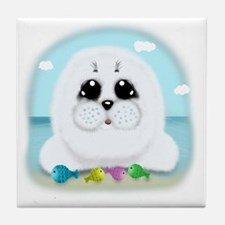 baby-Seal-(txt) Tile Coaster