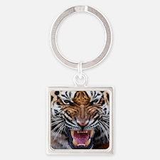 Tigers, Big Cat Football Square Keychain