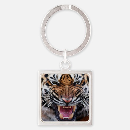 Tigers, Big Cat Football Square Keychain
