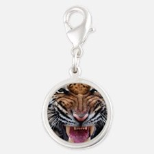 Tigers, Big Cat Football Silver Round Charm