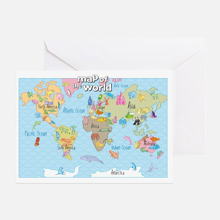 World Map For Kids - Hand Drawn Desi Greeting Card