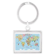 World Map For Kids - Hand Drawn Landscape Keychain