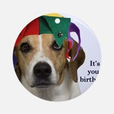 Beagle Birthday Card Round Ornament