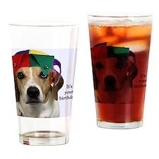 Beagle Birthday Card Drinking Glass