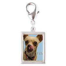 Chihuahua Yum Birthday Card Silver Portrait Charm