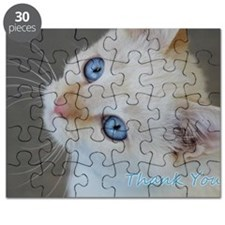 Blue Eyed Kitten Thank You Puzzle