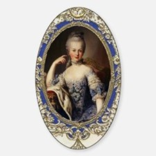 Marie Antoinette in vintage frame Sticker (Oval)